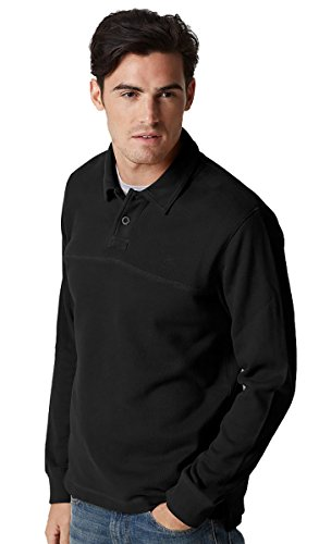 Timberland Men's Long Sleeve Fort River Black Polo Shirt (Small)