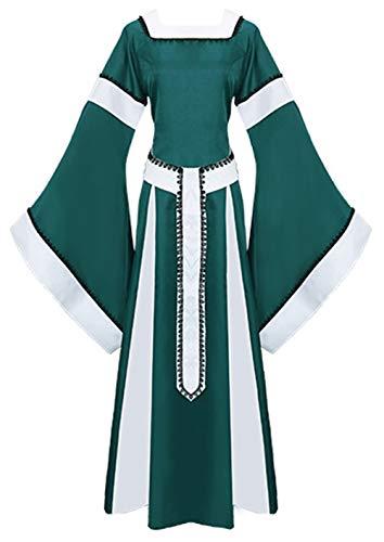 LETSQK Vintage Renaissance Medieval Dresses Irish Victorian Halloween Costume Green S ()
