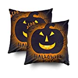 ROOLAYS Decorative Throw Square Pillow Case Cover 16X16Inch,Cotton Cushion Covers Happy Halloween Poster Design Traditional Both Sides Printing Invisible Zipper Home Sofa Decor Sets 2 PCS Pillowcase