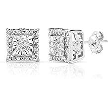 Sterling Silver 1/4 Carat Square Stud Earrings