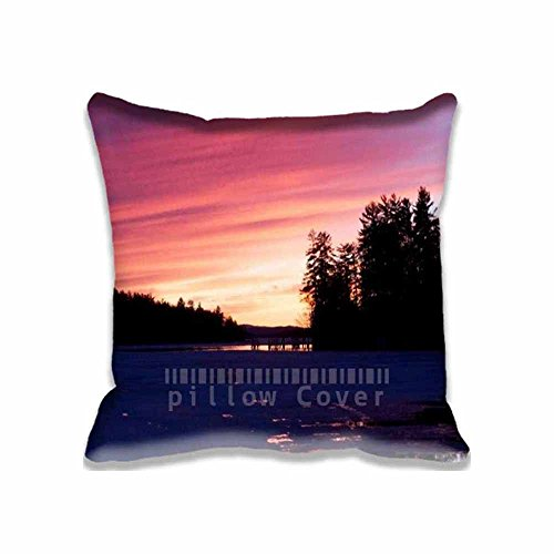 Elegant Christmas Decorating Ideas - Sunset Nature Mountain Wood Red Sky Lake Custom Pillowcase Standard Size Cute Design Zippered Throw Pillow Cases Cushion Covers for Kids 16X16inch