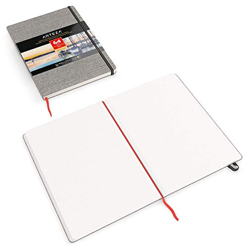 ARTEZA 8.3x11.7'' Watercolor Book, Pack of 2 Watercolor Sketchbooks, 64 Sheets per Pad, 110lb/230gsm, Linen Bound with Bookmark Ribbon and Elastic Strap, for Watercolor Techniques and Mixed Media by ARTEZA (Image #5)