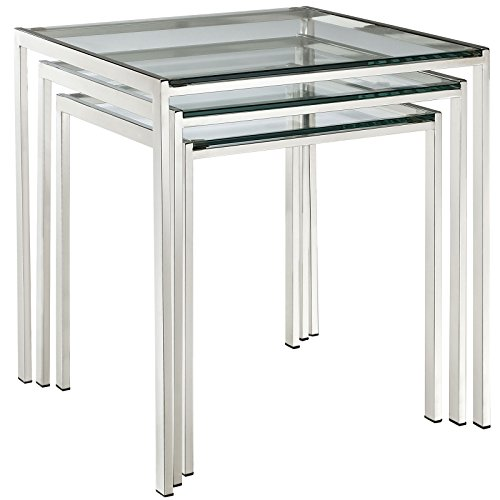 Modway Nimble Glass and Stainless Steel 3-Piece Side Nesting Table Set In Silver