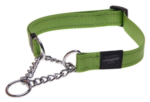 Nylon Show Dog Choke Collar (Reflective Nylon Choke Collar; Slip Show Obedience Training Gentle Choker for Medium Dogs, Green)