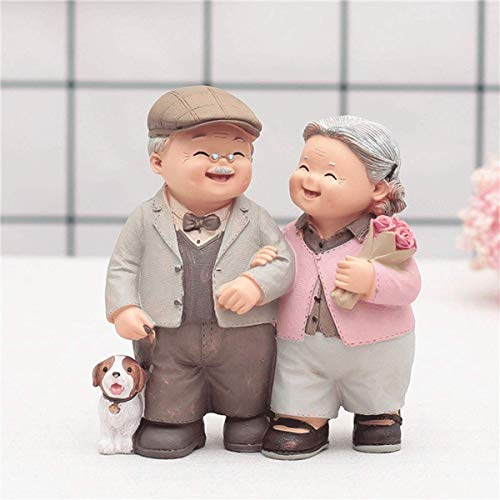 50th Anniversary Gift Golden Marriage Couples Wedding Cake Toppers Polyresin Figurines Collectibles for Parents(Couple Set))