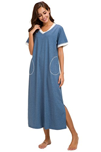 Supermamas Long Nightgown Womens Cotton Knit Short Sleeve Nightshirt with Pockets(Blue, XL) by Supermamas (Image #2)