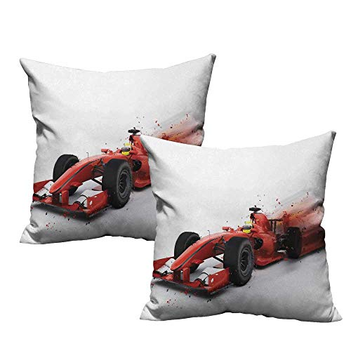 Cars Living Room Sofa Hug Pillowcase Generic Formula 1 Racing Car Illustration with Special Effect Turbo Motion Auto Print Mildew Proof W15 x L15 Red Black -