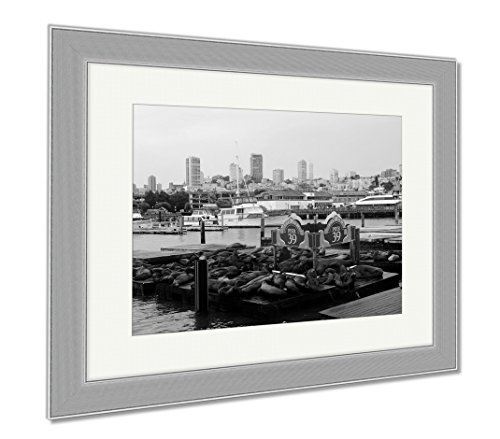 Ashley Framed Prints San Francisco Pier 39 View Of Buildings And Sea Lions USA, Wall Art Home Decoration, Black/White, 30x35 (frame size), Silver Frame, - 39 San Shops Francisco Pier