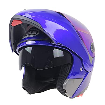 XuBa Motorcycle Helmets Flip Up Double Visors Racing Full Face Helmet Blue XL