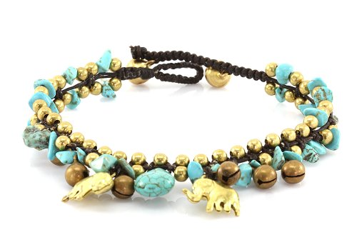 MGD, Blue Turquoise Color Bead and Brass Elephant Anklet, Handmade Brass Bell Anklet, Fashion Jewelry For Women, Teens and Girls, JB-0199A