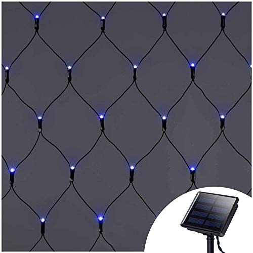 Solar Powered Blue Net Mesh Lights,9.8ft x 6.6ft,200 Led,Dark Green Cable,8 Modes Indoor Outdoor String Linghts for Dance Bush Weekend Party Exhibition Concert Bar Library Backrest Ferry Pathway RV ()
