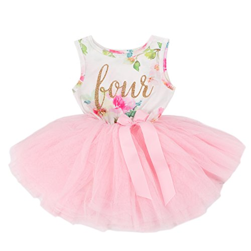 Grace & Lucille Toddler Birthday Dress (4th Birthday) (Pink Floral Sleeveless, Gold, 4T)