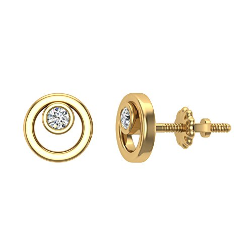 Diamond Earrings Circle Shape Studs 10K Yellow Gold - Bezel Setting Screw Back Posts (0.10 carat total) Bezel Setting Diamond Stud Earring