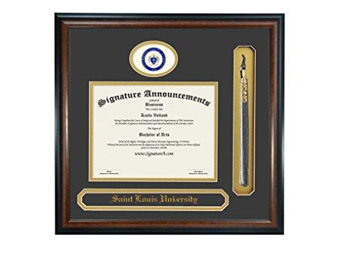Signature Announcements Saint Louis University Doctorate Sculpted Foil Seal, Name & Tassel Graduation Diploma Frame, 20'' x 20'', Matte Mahogany by Signature Announcements