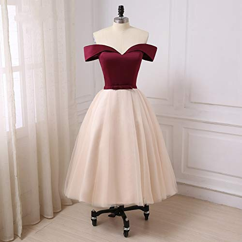 Burgundy and Cream Puffy Tulle Ball Halloween Dance Party Dress Tea Length Homecoming Cocktail Gowns Cap Sleeve