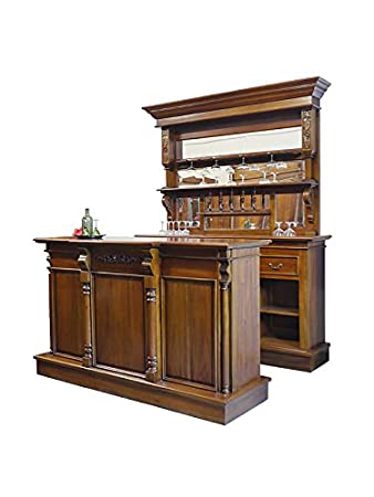 Theke Tresen Bar Hausbar Kellerbar Massivholz Antik Stil Nussbaum
