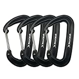 VORNNEX 12KN Aluminum Replacement Carabiner 4 Pack for Hammocks, Clipping On Camping Accessories, Keychains and More - Black