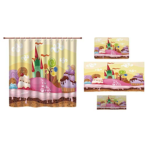 iPrint Bathroom 4 Piece Set Shower Curtain Floor mat Bath Towel 3D Print,Landscape with Donuts Muffins Ice Cream Nursery,Fashion Personality Customization adds Color to Your Bathroom.