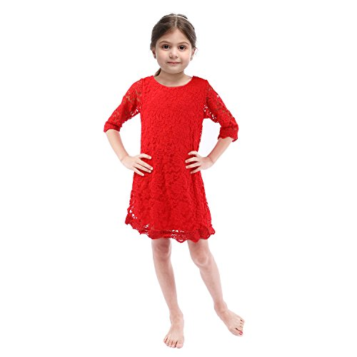Lilytots Rustic Flower girls Lace Vintage Wedding Party Dress With Sleeves (5T, Red Short) Image