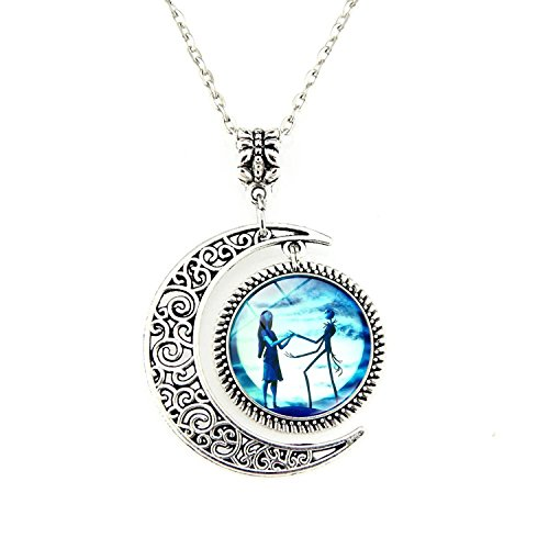 Jack and Sally Nightmare Before Christmas Moon Pendant Charm Crescent Necklace