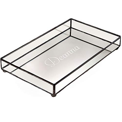 J Devlin TRA 108 ET205 Personalized Glass Jewelry Tray Vanity Organizer Dresser Mirror Bottom ()