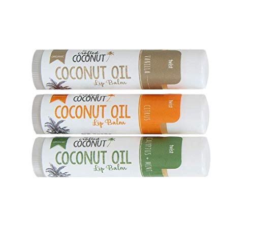 Organic Coconut Oil Lip Balm, Blended with Essential Oils - Eucalyptus + Mint, Vanilla, Citrus | Trio (3 Tubes in Pack) (Best Essential Oils For Lip Balm)