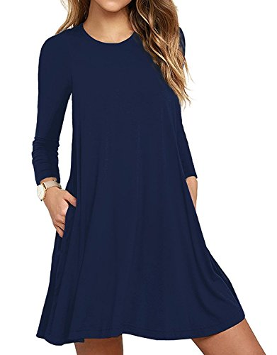 HAOMEILI Women's Long Sleeve Pockets Casual Swing T-Shirt Dresses (Large, Long Sleeve-Navy Blue)