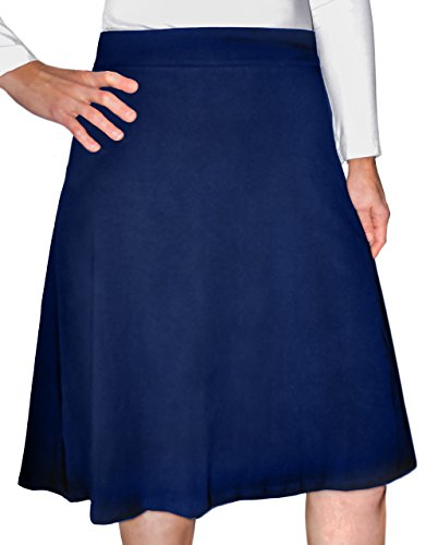 (Kosher Casual Women's Modest Knee-Length A-Line Lightweight Cotton Lycra Skirt Small)
