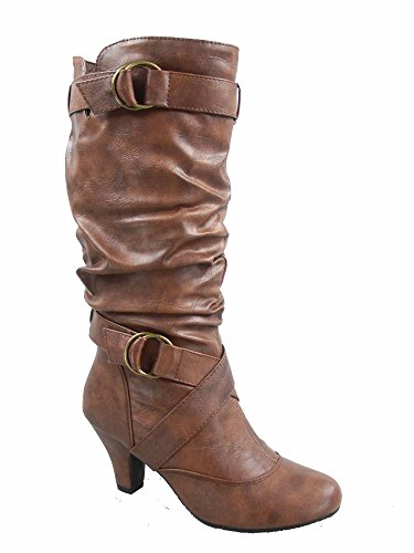 Forever Link Maggie-39 Women's Fashion Low Heel Zipper Slouchy Mid-Calf Boots Shoes Brown