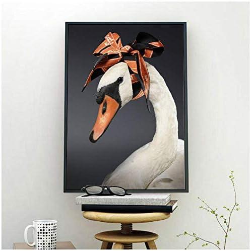 北欧ミニマリズムホワイトスワンウォールアートキャンバス絵画北欧ポスターとプリント動物壁写真用リビングルーム-50x70cmx2フレームなし