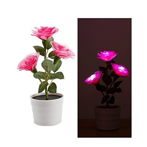 Solar Flower Lights,Magnolia LED Lighted Artificial Rose Pot with 3 Lights,Flower Bonsai LED Light Lamp Nightlight for Home Garden Room Office Hotel (Magnolia Pots)