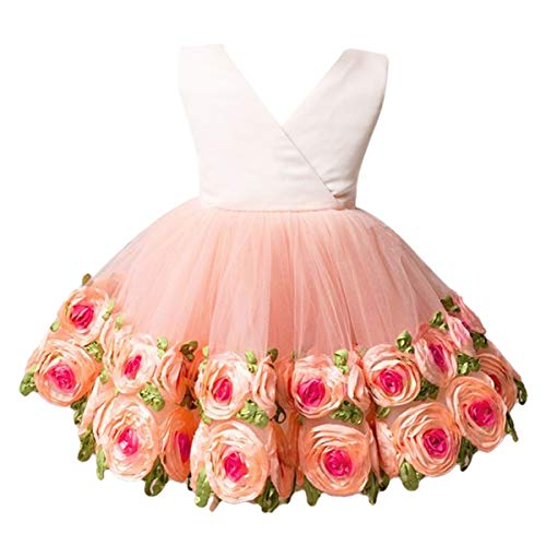 OBEEII Girl Flower Tutu Dress Princess Peach 18-24 M