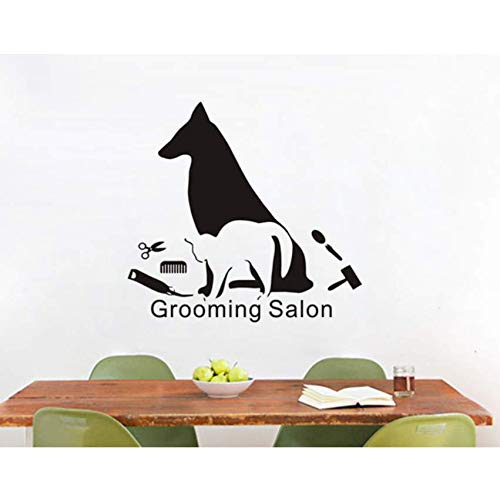pbldb Art Mural Dog and Cat Make Up Silhouette Wall Stickers Vinyl Wall Decal for Grooming Salon Window Wall Decoration42X53 cm ()