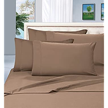 Elegant Comfort 1500 Thread Count Wrinkle & Fade Resistant Egyptian Quality Hypoallergenic Ultra Soft Luxurious 4-Piece Bed Sheet Set, Queen, Taupe