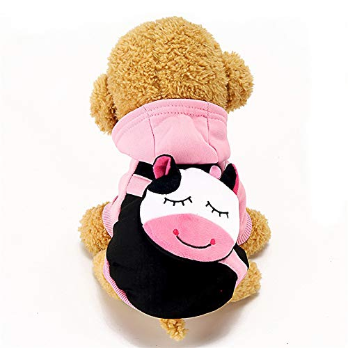 Dog Hoodies Cotton Clothes for Small Large Dogs Cats Spring Autumn Clothing for Pet Keep Warm with Coin Pocket Costume GGA013 Pink Cow M 37 x 25 cm
