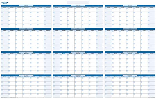 Sky Blue Undated Yearly Dry/Wet erasable Horizontal Wall Calendar with January - December - 32 in. x 48 in. (H-NNY-JD)
