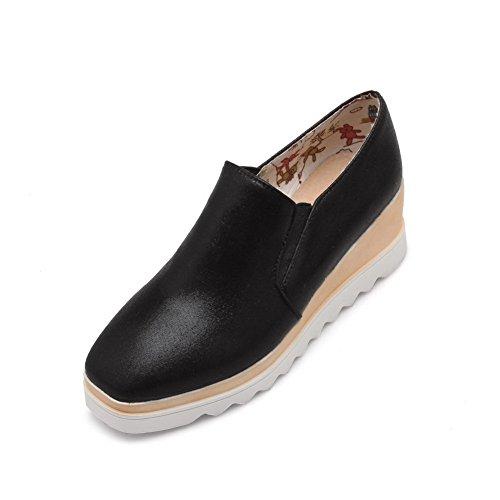 BalaMasa Womens Platform Height Pull-On Soft Material Pumps-Shoes Black 1vkCfruXHL
