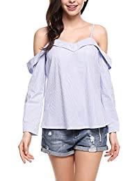 Women Strappy Button Cuffs Sweetheart Cold Shoulder Vertical Striped Top
