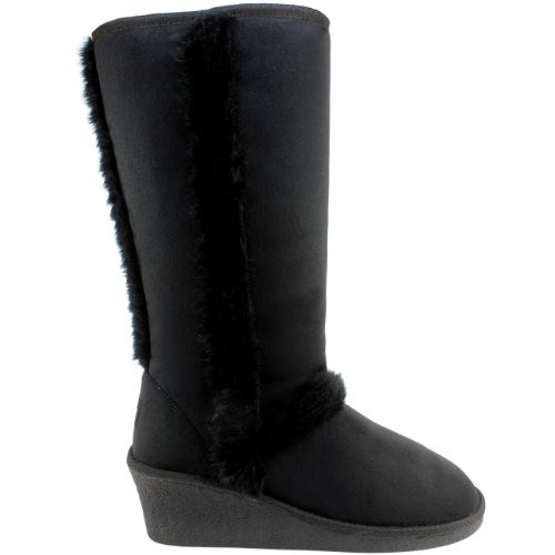 Womens Wedge Heel Fur Lined Winter Snow Boots Black
