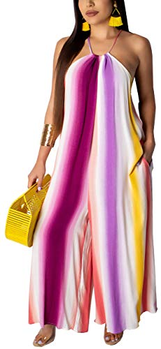 sexycherry Women's Sexy Plus Size Jumpsuits with Pockets Casual Halter Neck Loose Wide Leg Long Palazzo Pants Stretchy Maternity Outfits Colorful Stripes -
