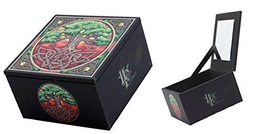 Ebros Gift Wicca Celtic Sacred Tree of Life Mirror Jewelry Box Trinket Keepsake Personal Storage Accessory Artist Lisa Parker
