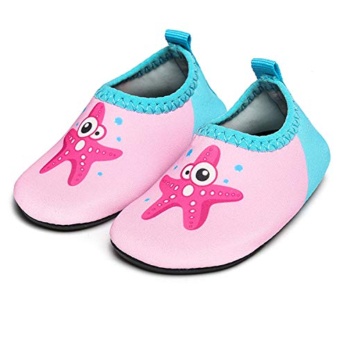 - JIASUQI Baby Outdoor and Indoor Slip on Beach Walking Water Shoes for Swim River Pool,Starfish Pink 6-12 Months