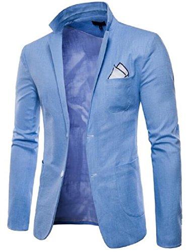 Blu Casuale Sportiva Ttyllmao Classico Elegante Tasto Del 2 Maschile Giacca Chiaro Sportiva Giacca R5Oqqzw