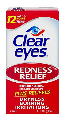 Clear Eyes Redness Relief Eye Drops | Relieves Drying, Burning & Irritations | 1 Ounce | Pack of 3