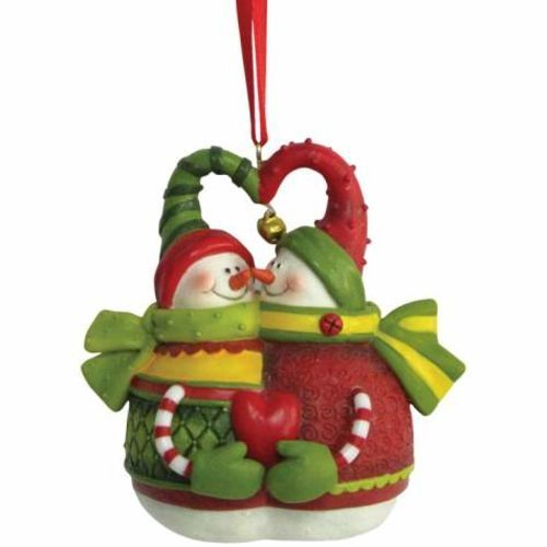 Holiday Christmas Ornament with Smiling Snowman Couple Holding Heart (Smiling Ornament Snowman)