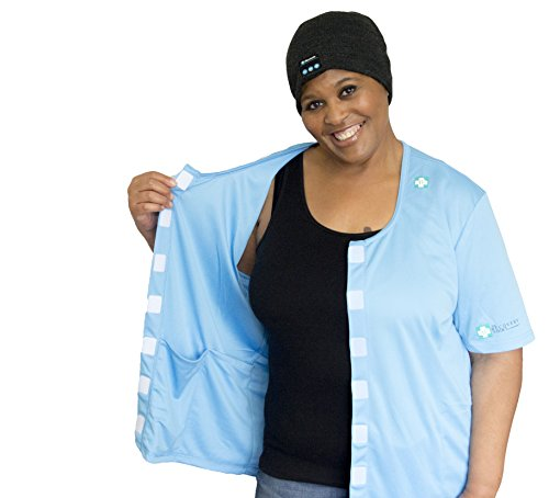 - Heal in Comfort Mastectomy Shirt with Drain Pockets Patented Award Winning Design Blue