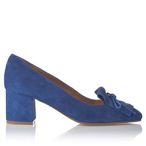 Laua Moretti - Mocasines de tacón Dansi copete nobuck con flecos y lazo Azul eléctico