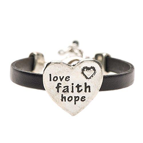 Pewter Black Leather Bracelet (Love Faith Hope Pewter and Black Leather Bracelet)