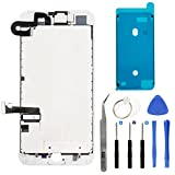 iPhone 7 Plus 5.5'' Full Screen Replacement LCD Touch Assembly Front Camera Earpiece Speaker Shield Plate with Frame Adhesive and Repair Tools (White)