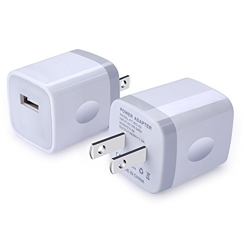 USB Wall Charger, Ououdee 2-Pack USB 1AMP Universal Home Travel Plug Wall Adapter Compatible iPhone 8/7 Plus/6 Plus/6s Plus/iPad, Tablet, Samsung Galaxy S10 S9 S8, S7, S6 Edge, Note 8, ()